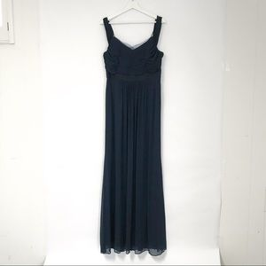 Adrianna Papell navy blue tull gown. Size 10